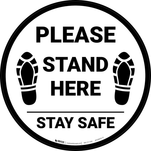 Please Stand Here Stay Safe Shoe Prints Circular - Floor Sign