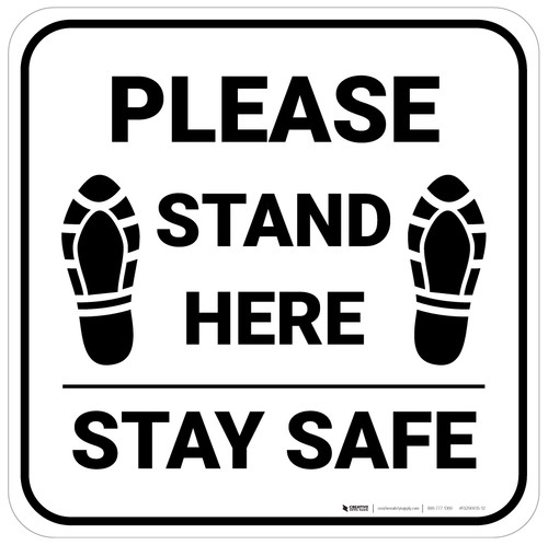 Please Stand Here Stay Safe Shoe Prints Square - Floor Sign