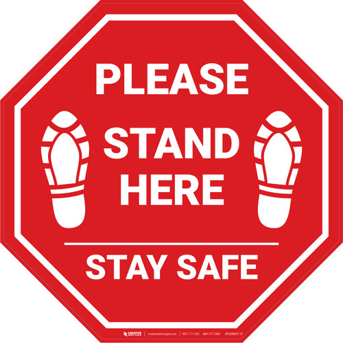 Please Stand Here Stay Safe Shoe Prints STOP - Floor Sign