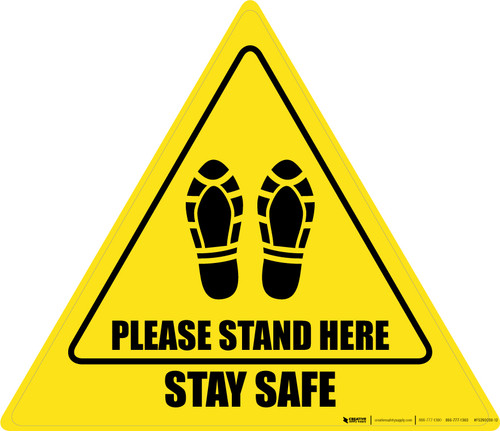 Please Stand Here Stay Safe Shoe Prints Triangle - Floor Sign