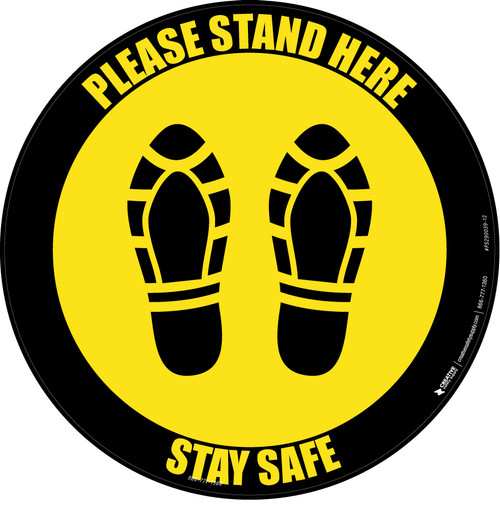 Please Stand Here Stay Safe Shoe Prints Yellow Black Border Circular - Floor Sign