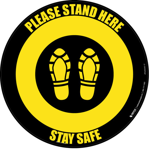 Please Stand Here Stay Safe Shoe Prints Yellow/Black Circular - Floor Sign
