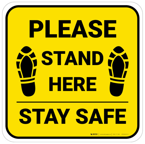 Please Stand Here Stay Safe Shoe Prints Yellow Square - Floor Sign