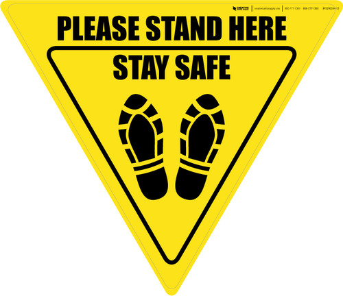 Please Stand Here Stay Safe Shoe Prints Yield - Floor Sign