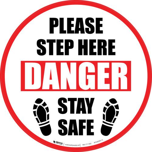 Please Step Here Danger: Stay Safe Shoe Prints Circular - Floor Sign