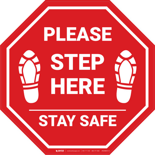 Please Step Here Stay Safe Shoe Prins STOP - Floor Sign