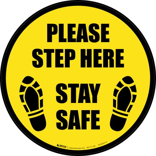 Please Step Here Stay Safe Shoe Prints Black Border Circular - Floor Sign