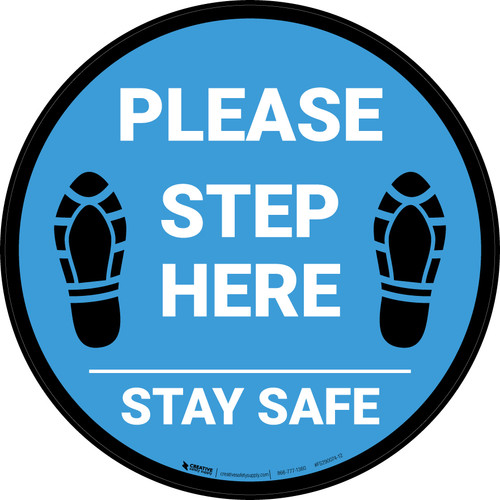 Please Step Here Stay Safe Shoe Prints Blue Circular - Floor Sign