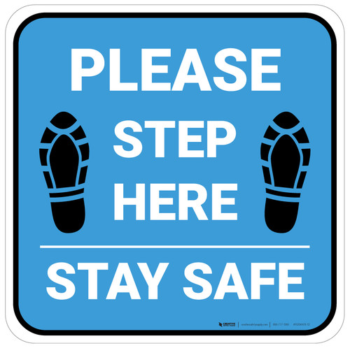 Please Step Here Stay Safe Shoe Prints Blue Square - Floor Sign