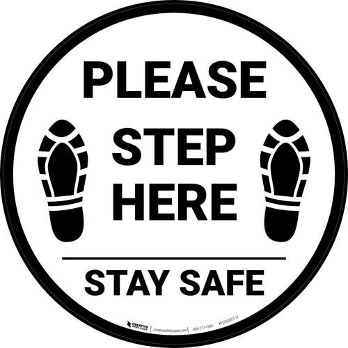 Please Step Here Stay Safe Shoe Prints Circular - Floor Sign