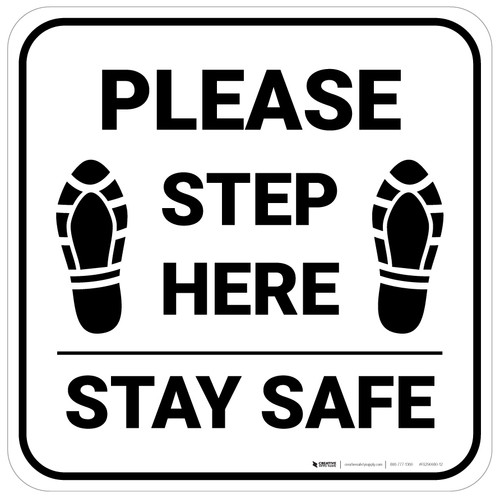 Please Step Here Stay Safe Shoe Prints Square - Floor Sign