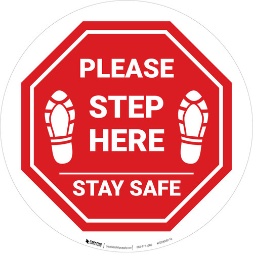 Please Step Here Stay Safe Shoe Prints STOP Circular - Floor Sign