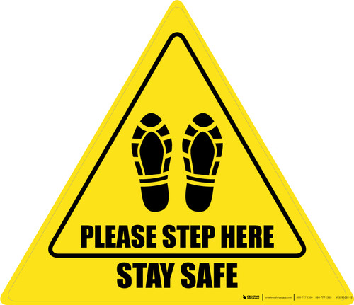 Please Step Here Stay Safe Shoe Prints Triangle - Floor Sign