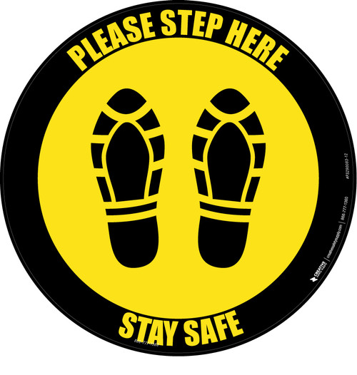 Please Step Here Stay Safe Shoe Prints Yellow Black Border Circular - Floor Sign
