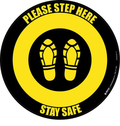 Please Step Here Stay Safe Shoe Prints Yellow/Black Circular - Floor Sign