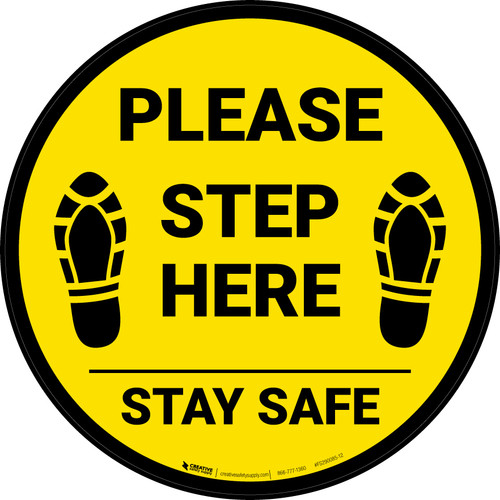 Please Step Here Stay Safe Shoe Prints Yellow Circular - Floor Sign