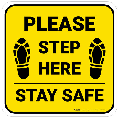 Please Step Here Stay Safe Shoe Prints Yellow Square - Floor Sign