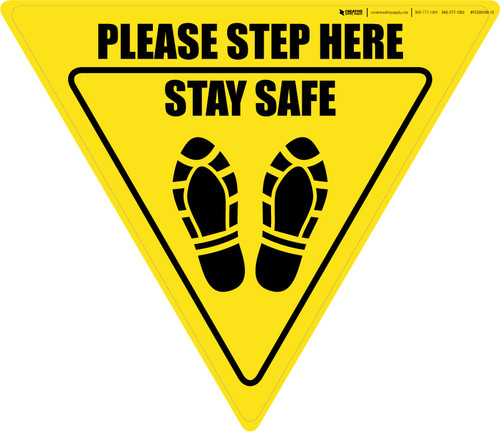 Please Step Here Stay Safe Shoe Prints Yield - Floor Sign