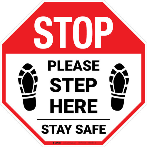 STOP: Please Step Here Stay Safe Shoe Prints Stop - Floor Sign