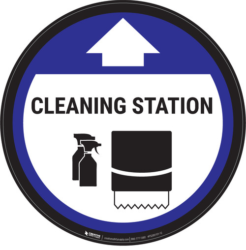 Cleaning Station Arrow With Icon Blue - Circular - Floor Sign