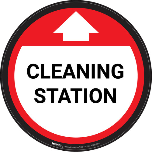 Cleaning Station With Arrow Red - Circular - Floor Sign