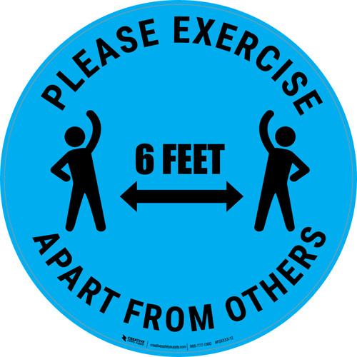 Please Exercise 6Ft Apart From Others With Icons Blue - Circular - Floor Sign