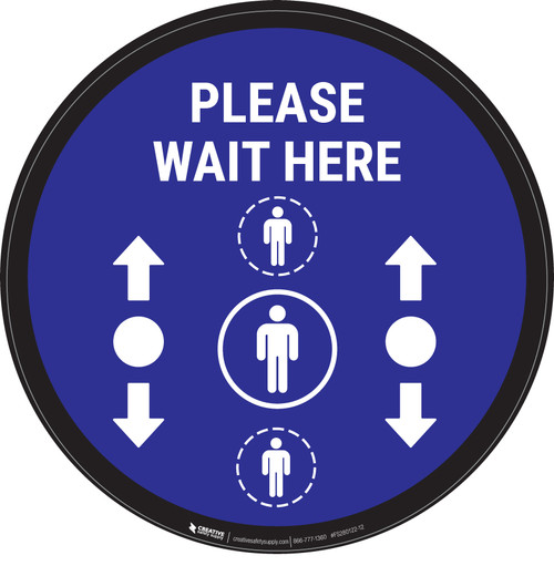 Please Wait Here With Social Distance Dots Blue - Circular - Floor Sign