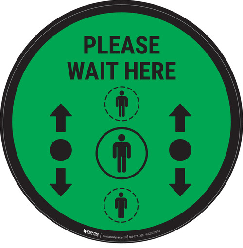 Please Wait Here With Social Distance Dots Green - Circular - Floor Sign