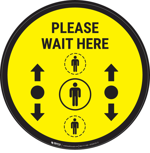 Please Wait Here With Social Distance Dots Yellow - Circular - Floor Sign