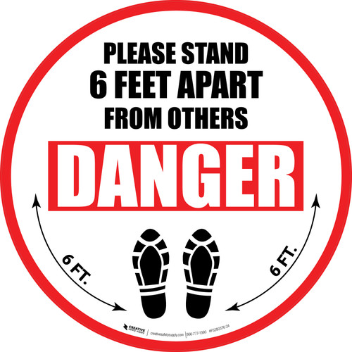 Please Stand 6 Feet Apart From Others Danger Shoe Prints - Circular - Floor Sign