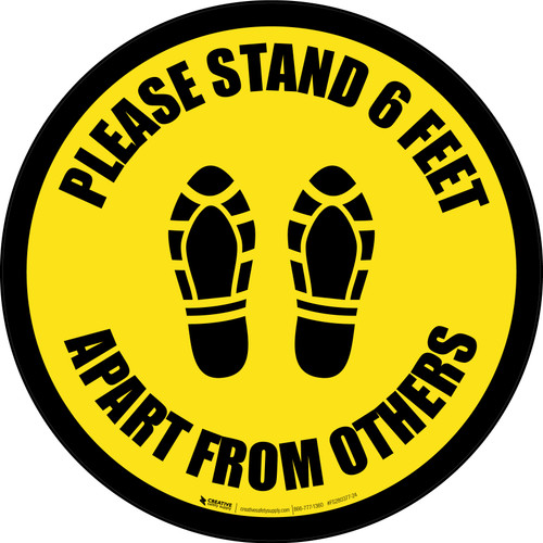 Please Stand 6 Feet Apart From Others Shoe Prints Black Border - Circular - Floor Sign