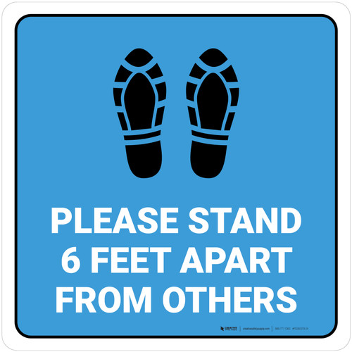 Please Stand 6 Feet Apart From Others Shoe Prints Blue - Square - Floor Sign