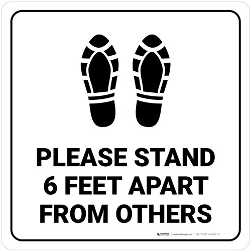 Please Stand 6 Feet Apart From Others Shoe Prints Square