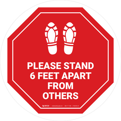 Please Stand 6 Feet Apart From Others Shoe Prints Stop - Circular - Floor Sign