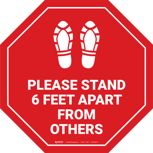Please Stand 6 Feet Apart From Others Shoe Prints Stop