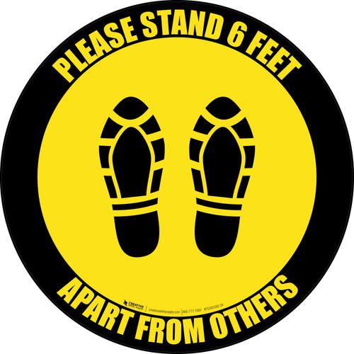 Please Stand 6 Feet Apart From Others Shoe Prints Yellow Black Border - Circular - Floor Sign