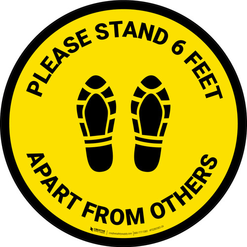 Please Stand 6 Feet Apart From Others Shoe Prints Yellow - Circular - Floor Sign