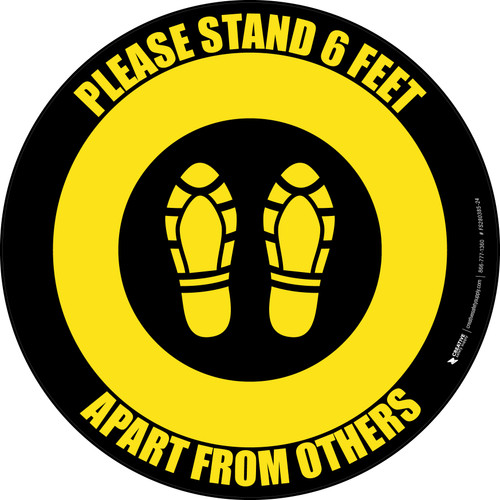 Please Stand 6 Feet Apart From Others Shoe Prints Yellow/Black - Circular - Floor Sign