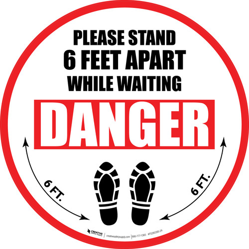 Please Stand 6 Feet Apart While Waiting Danger Shoe Prints - Circular - Floor Sign