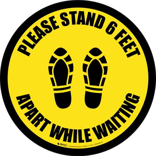 Please Stand 6 Feet Apart While Waiting Shoe Prints Black Border - Circular - Floor Sign