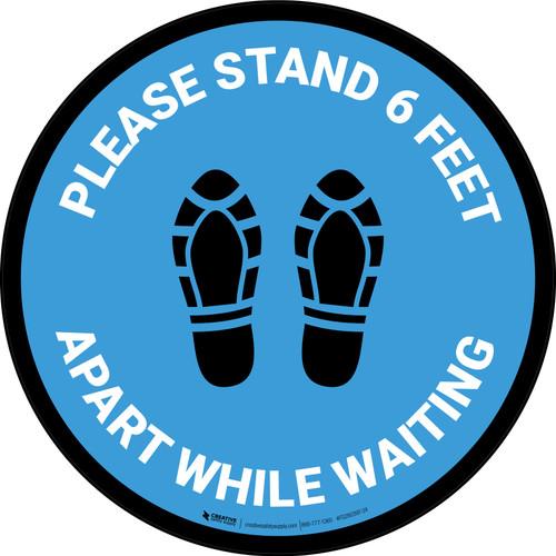 Please Stand 6 Feet Apart While Waiting Shoe Prints Blue - Circular - Floor Sign