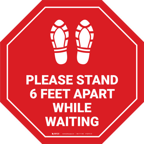 Please Stand 6 Feet Apart While Waiting Shoe Prints Stop