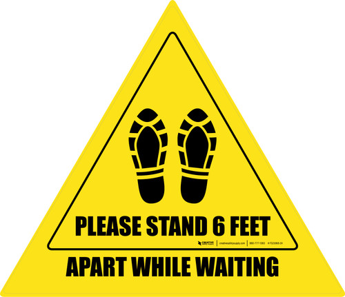 Please Stand 6 Feet Apart While Waiting Shoe Prints Triangle