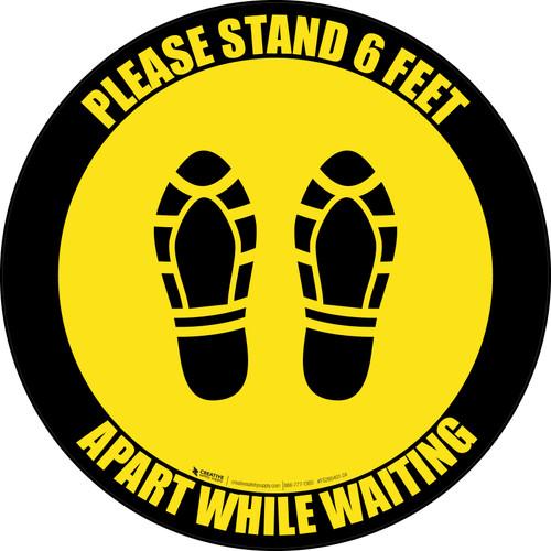 Please Stand 6 Feet Apart While Waiting Shoe Prints Yellow Black Border - Circular - Floor Sign