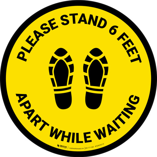 Please Stand 6 Feet Apart While Waiting Shoe Prints Yellow - Circular - Floor Sign