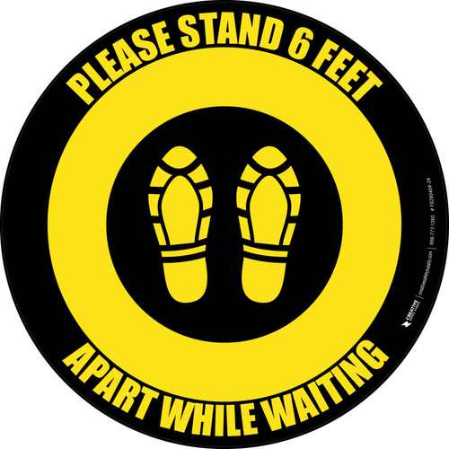 Please Stand 6 Feet Apart While Waiting Shoe Prints Yellow/Black - Circular - Floor Sign