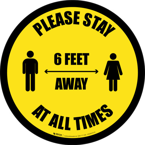 Please Stay 6 Feet Away At All Times With Icon Border - Circular - Floor Sign