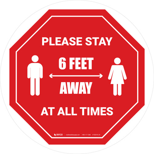 Please Stay 6 Feet Away At All Times With Icon Stop - Circular - Floor Sign