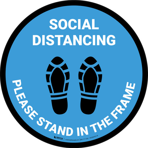 Social Distancing Please Stand In The Frame Shoe Prints Blue - Circular - Floor Sign