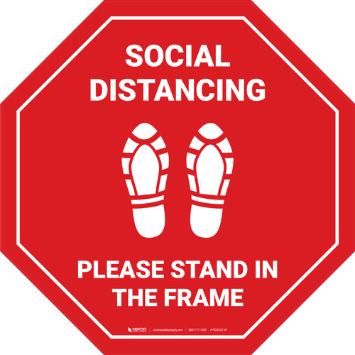 Social Distancing Please Stand In The Frame Shoe Prints Stop